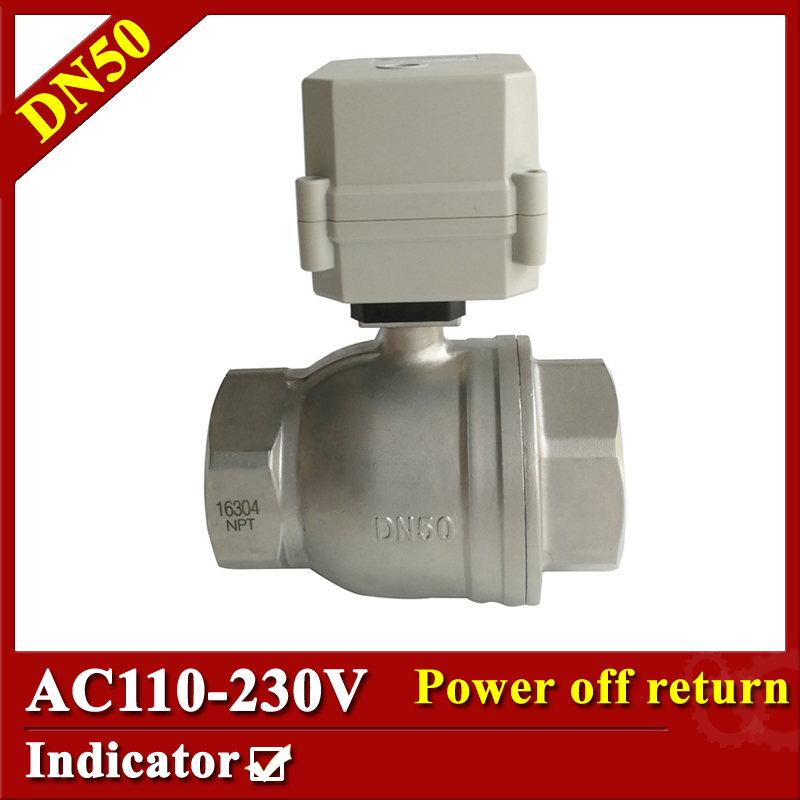 Tsai Fan Electric valve 2 way DN50 motorized valve 2/5 wires 2 inch SS304 AC110V-230V electric ball valve with normal close/open tf25 b2 b 2 way dn25 full port power off return valve ac dc9 24v 2 wires normal open valve with manual override
