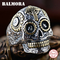 BALMORA 100% Real 925 Sterling Zilver Vintage Ringen voor Vrouwen Mannen Liefhebbers Punk Fashion Cool Sieraden Schedel Ring Bijoux SY20540