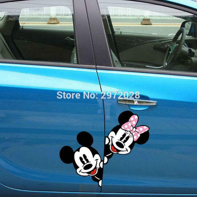 2 x Mais Novo Mickey e Minnie Criativo Auto Decalque Do Carro Dos Desenhos Animados etiqueta Do Carro Espelho Retrovisor Do Carro Bumper Corpo Padrão Criativo Vinil