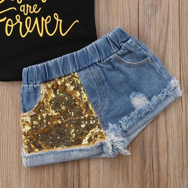 Summer Toddler Kids Baby Girl Letter Print T-shirt Tops+Sequins Denim Shorts Jeans 2PCS Outfits Children Clothing Set 5