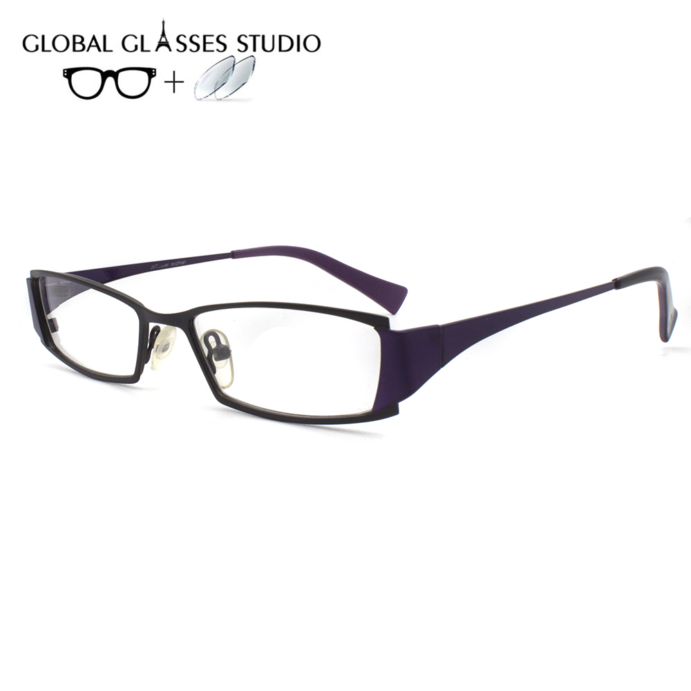Women Metal  Glasses Frame Eyewear Eyeglasses Reading Myopia Prescription Lens 1.56 Index JB1055 C4(China)