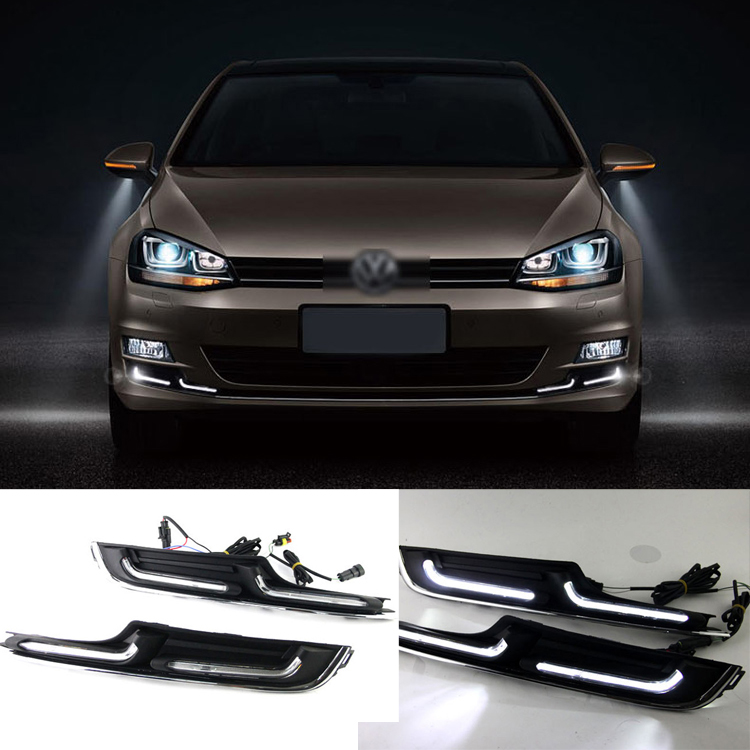 Brand New Updated LED Daytime Running Lights DRL With Black Foglight Cover For VW Golf 7 brand new updated led daytime running lights drl with black foglight cover for mitsubishi lancer ex