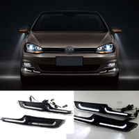 Brand New Updated LED Daytime Running Lights DRL With Black Foglight Cover For VW Golf 7