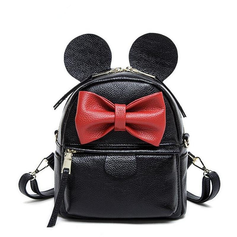 купить 2016 Preppy Style Women Backpack Genuine Leather Black Mini Bow Design Shoulder School Bags For Girl Travel Backpacks по цене 2828.49 рублей