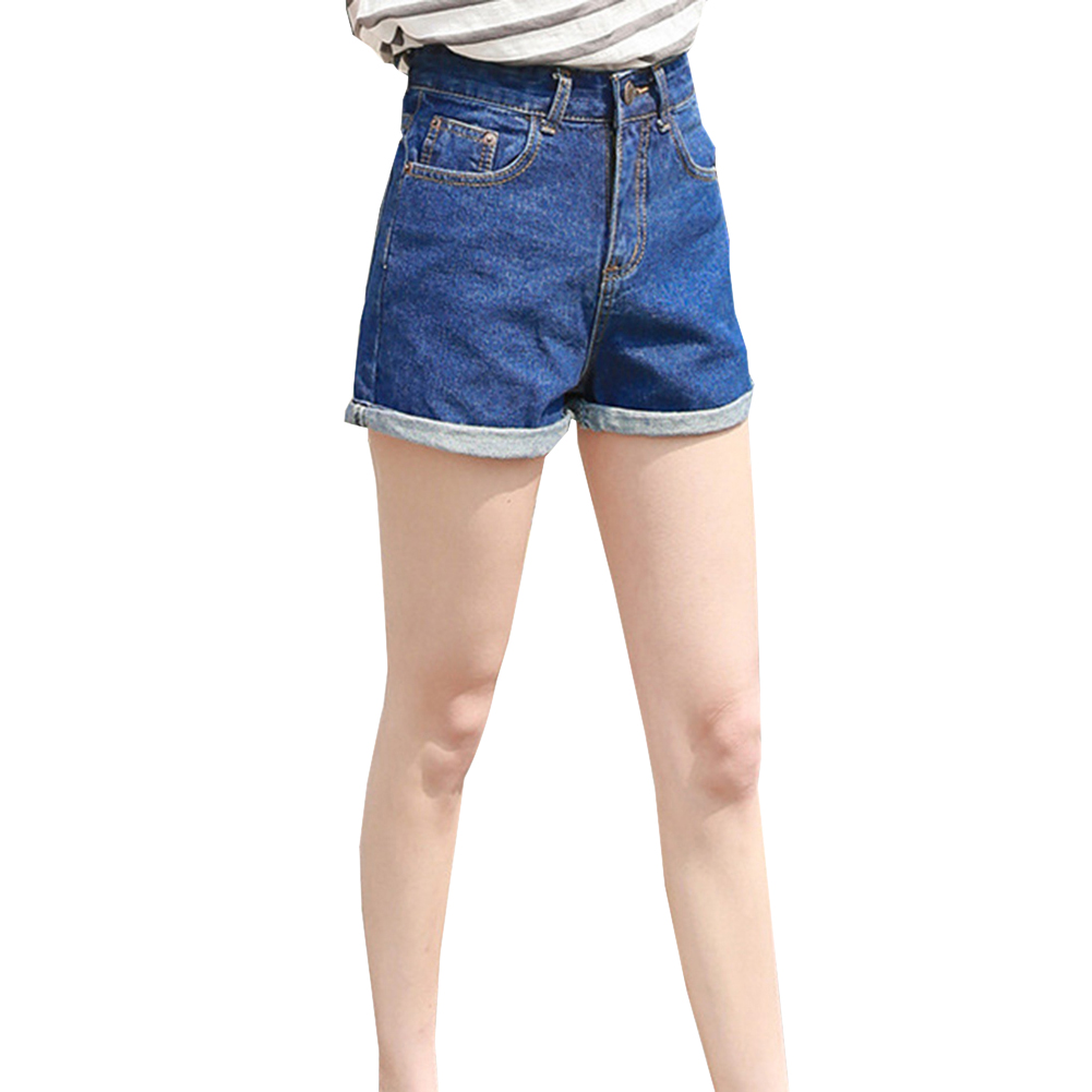 2020 Summer  Women's High Waist Rolled Denim Shorts Casual Pants with Pockets Female Classical Straight Jeans Shorts