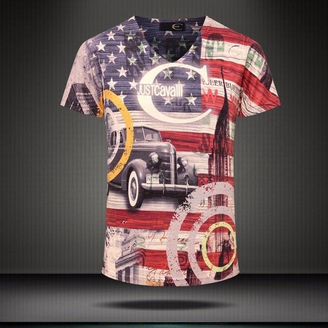 2017 Nueva Llegada 3D Hombres de la Camiseta de Moda de Verano Bandera Americana Impresa hombres Slim Fit Cuello En V Camiseta Hombres de la Marca de Algodón Camisetas Divertidas camisas
