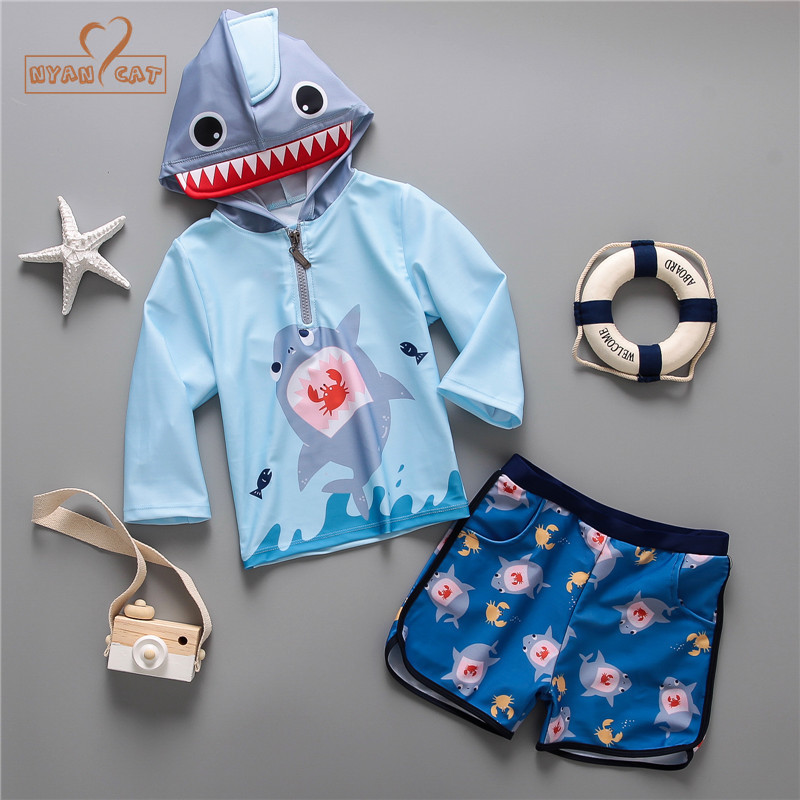Nyan Cat 2018 new children long sleeve shark modeling hooded sun-proof split swimsuit di ...