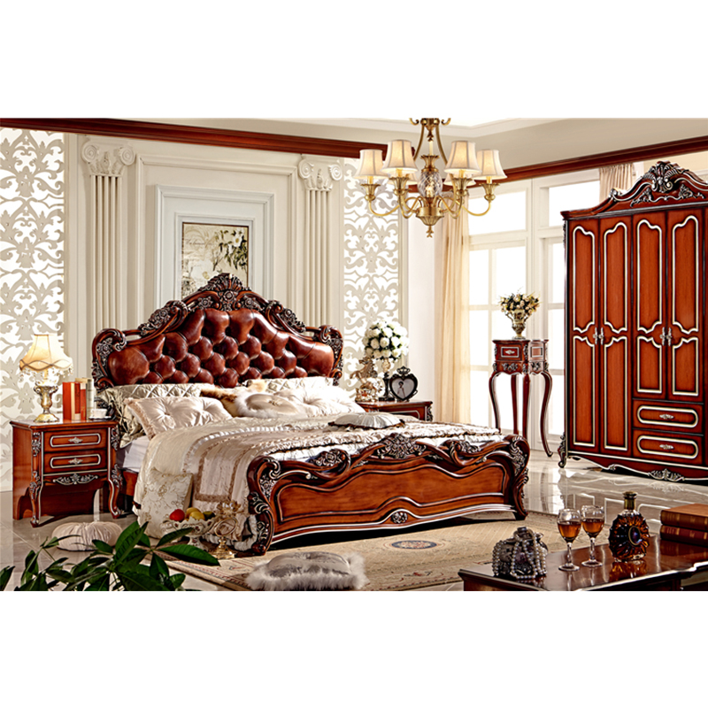 french style solid wood bed, luxury antique bedroom furniture-in bedroom sets from furniture on