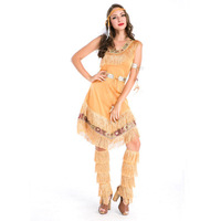 Halloween Carnival Cosplay Costume Dress Lady Sexy Indian Costume Womens Pocahontas Adult Fancy Party Dress