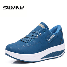 PU Lacing Wanita Toning Shoes 5.5CM Ketinggian Soles Ketat Peningkatan Wedges bernafas Swing Sneakers 2017 New Autumn Slmming Shoes