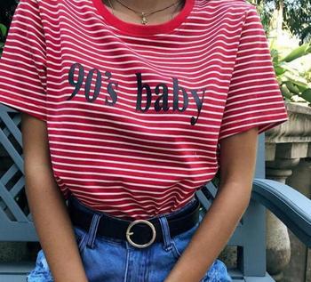 Ronde hals korte mouwen gestreepte brief gedrukt T-shirt vrouwelijke