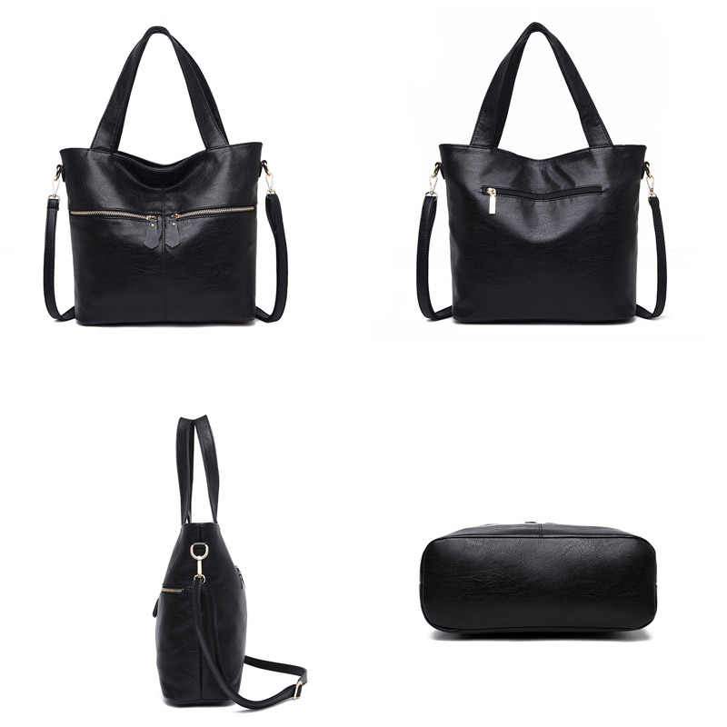 7a3f79a794a2 ... Rodful Soft leather women's handbags ladies large messenger shoulder  bag female Black hand bags for women ...