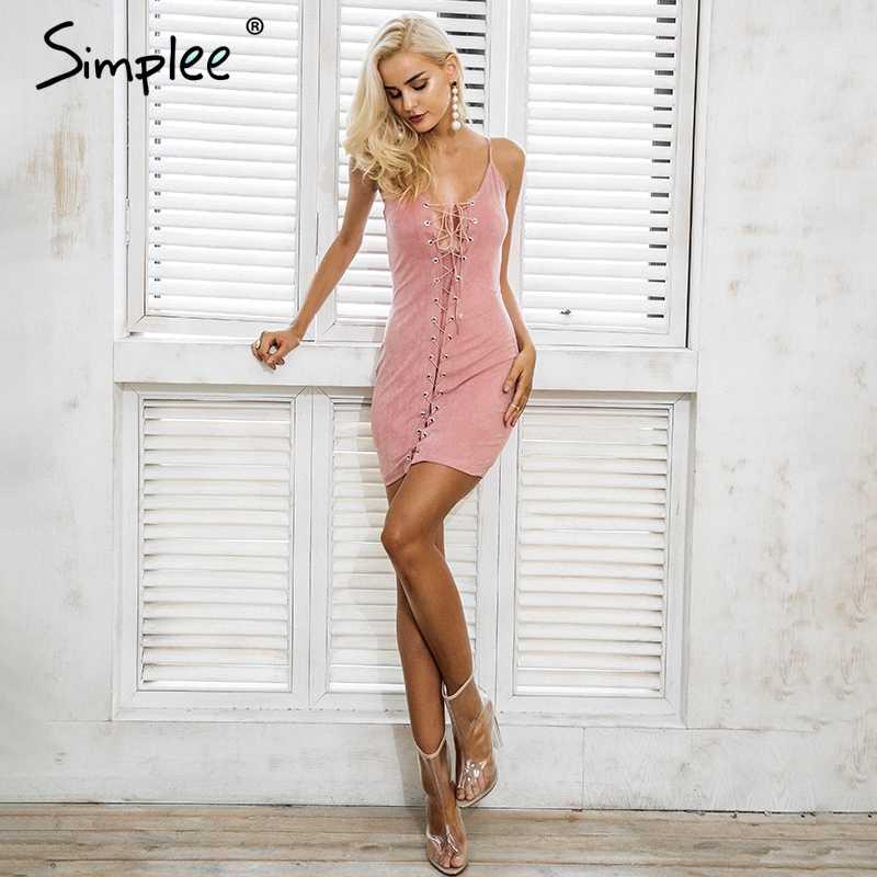 Женское осенне-зимнее платье Simplee, пикантное замшевое облегающее розовое платье на бретелях, с перекрестной шнуровкой, вечернее платье для клуба