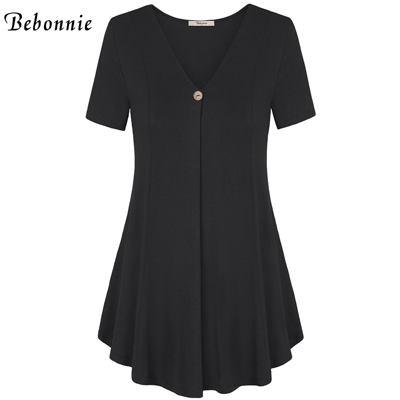 1e0e77d6905 Bebonnie Summer Ruffles Short Sleeve V Neck Women Basic Top Front Pleats  Female Solid Stretch Knitted Blouses Loose Tunic Tops-in Blouses & Shirts  from ...