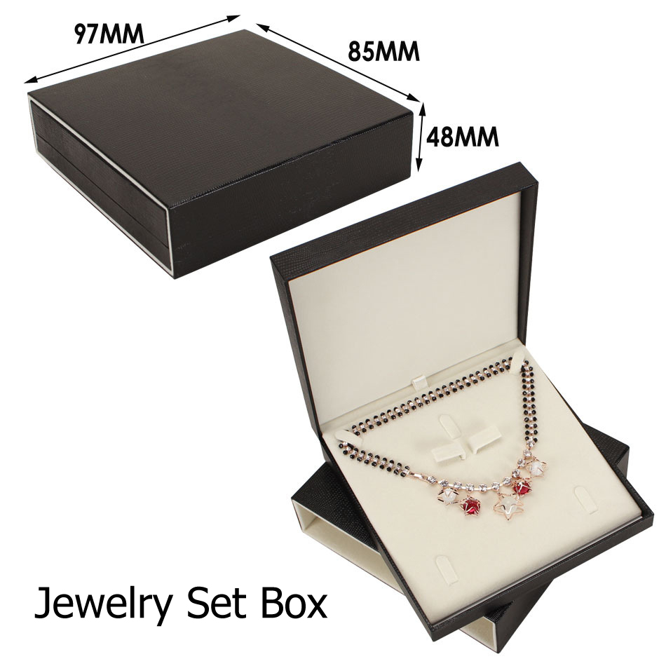 Wholesale Black Faux Leather Jewelry Earrings Pendant Necklace Box