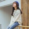 2016 Lã Outono Inverno Pullovers Camisolas Do Vintage Quente de Manga Comprida Solta Bordado Sólida O-pescoço Tornar Blusa Blusas