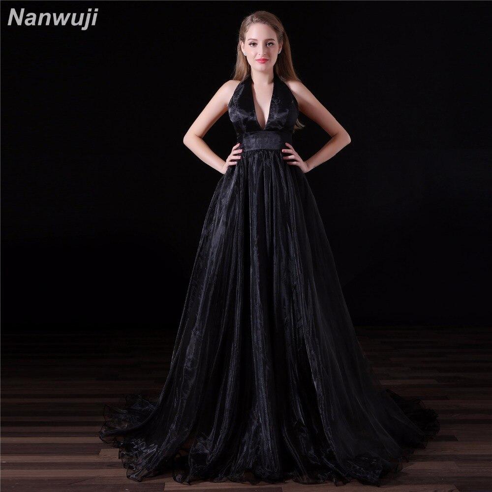 Real Photo Black Evening Dresses LongV Neck Sleeveless Velour A line High Split Vestido De Festa Robe De Soiree