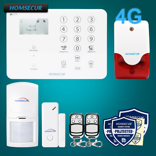 HOMSECUR Wireless 4G/3G/GSM LCD SMS Autodial Burglar Alarm System+Touch Panel GA01-4G-W все цены