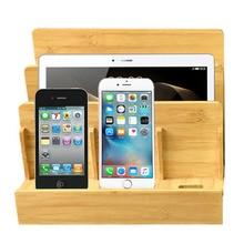 Estación de carga de madera de bambú Natural multifunción, base de carga, soporte, caja de almacenamiento para iPhone 5 6S 7 Plus iPad MAC