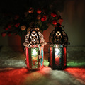 Clássico em Estilo Marroquino Castiçal 8.3*7.2*16.5 CM Ferro Castiçal de Vidro Votiva Vela Lanterna Casa Decoração de Casamento