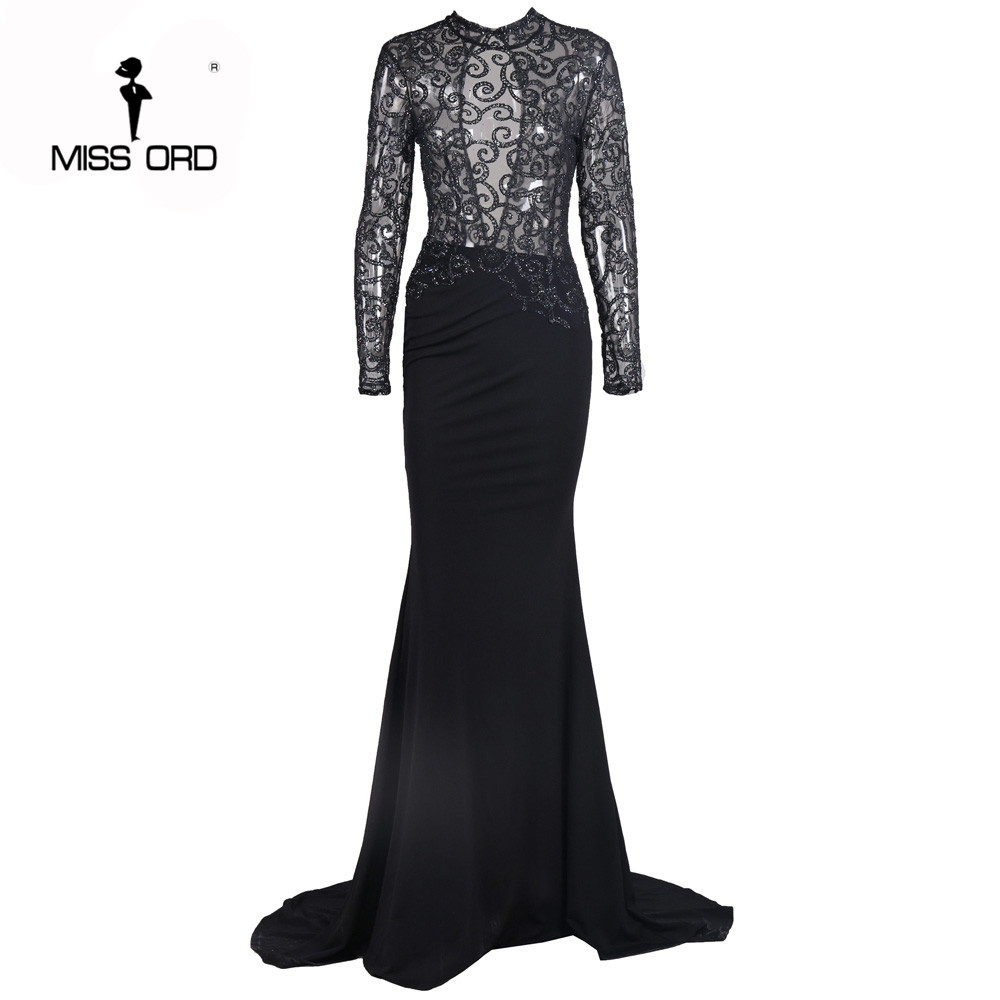Envío libre missord moda 2017 flash sexy halter dress de manga larga de cuello a