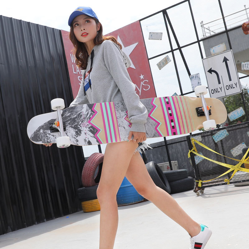 117cm 4 Wheels Road Dancing Longboard Deck Professional Fiberglass Skateboard Drop Downhill Skate Longboard For Kinds Adults