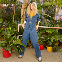 ELF SACK 2019 New Cotton Jumpsuits Woman Casual Solid Full Length Ladies Rompers Oversized Patchwork Hooded Femme Jumpsuits
