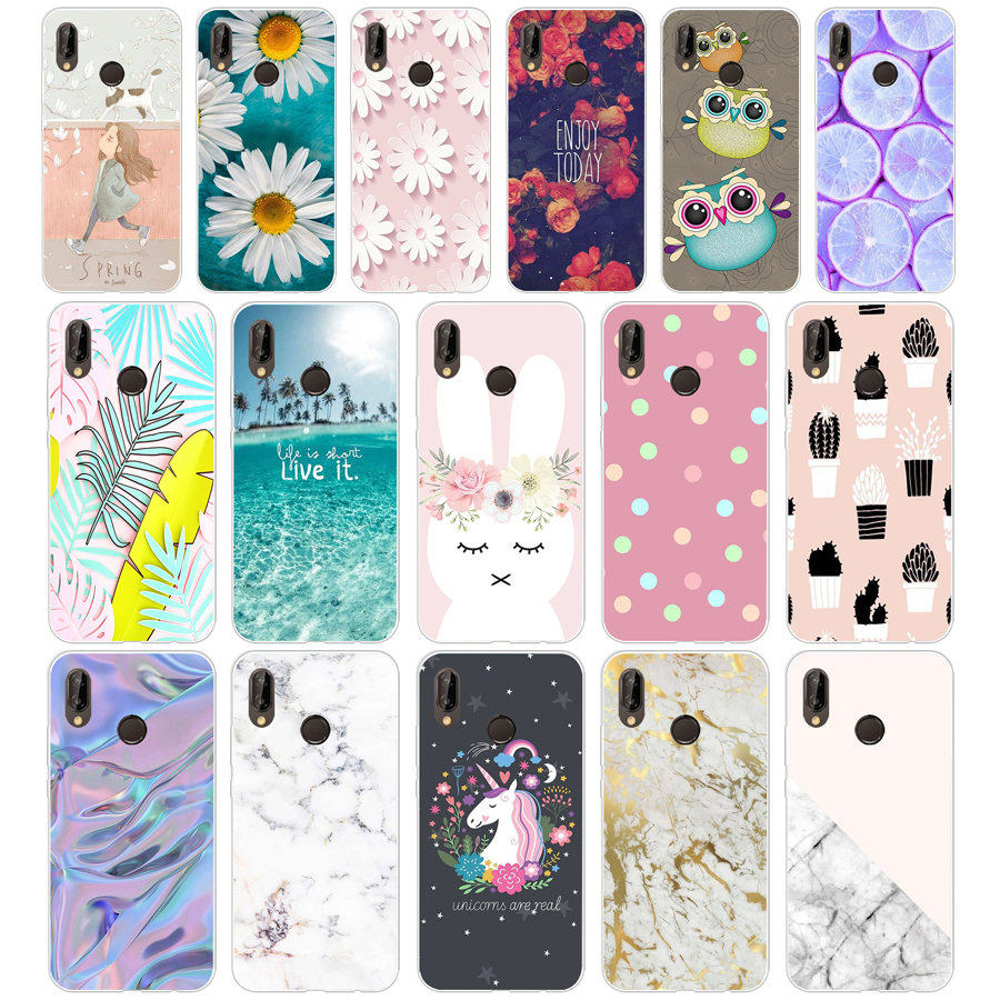 J Huawei P20 Lite Case 5.84inch Huawei P20 Lite Soft Rubber TPU Silicone Back Phone Case For Huawei P20 Lite Cover Bag Cases