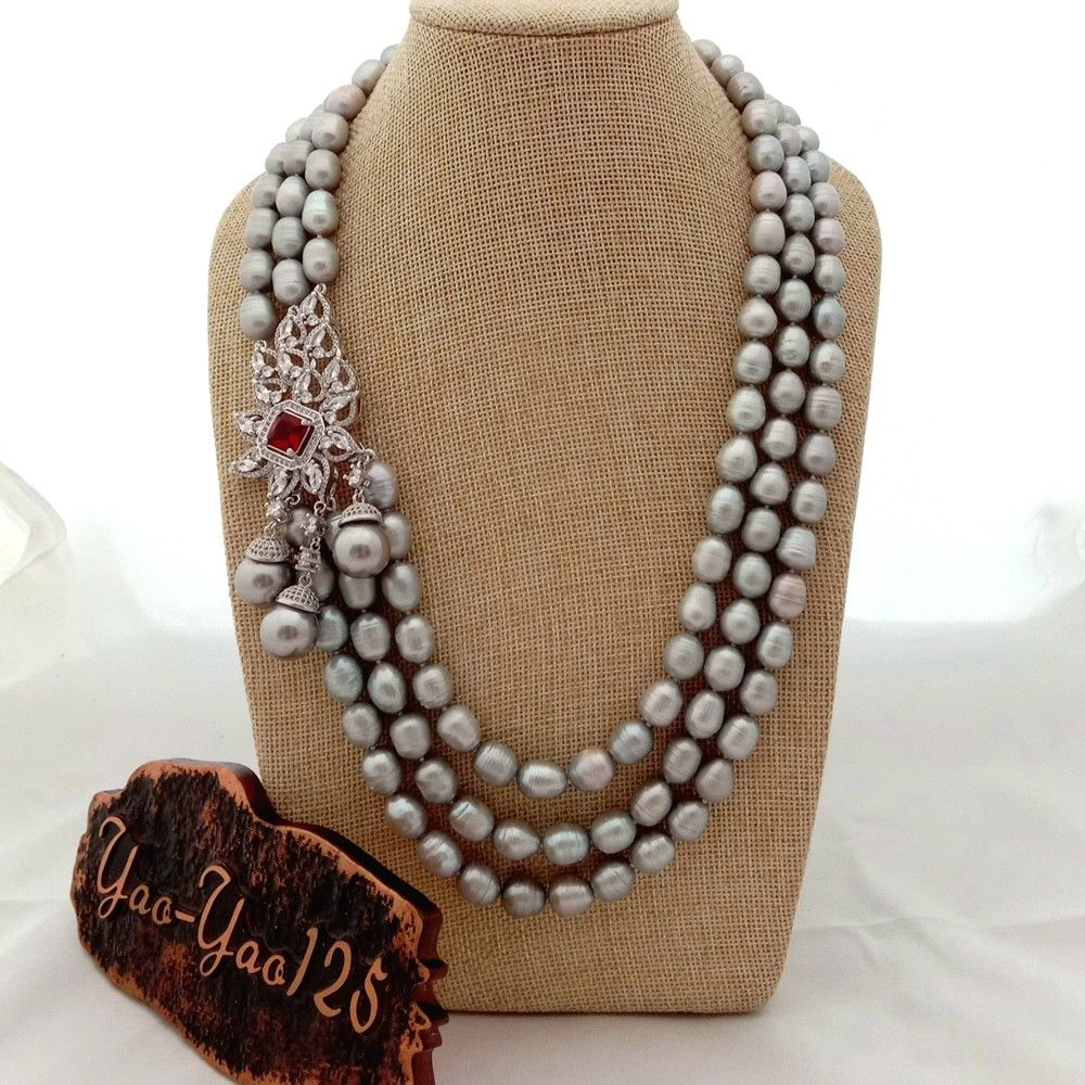 "Women's 22"" 3 Strands Gray Rice Pearl Necklace Sea Shell Pearl CZ Pendant"