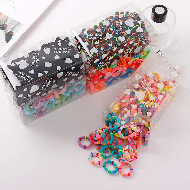 100PCS/Lot 3CM Cute Small Ring Rubber Bands Tie Elastic Hair Band 4