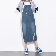 Big Size 6XL Denim Holes Dresses Ladies Maxi Suspenders Jeans Dresses Overall Fashion Suspenders Jeans Dress With Hole X1805
