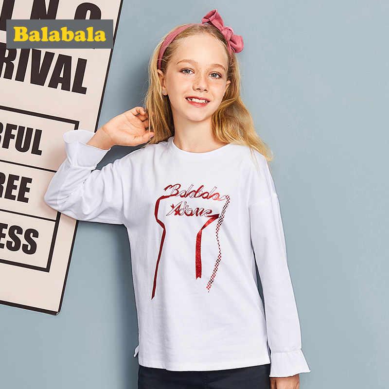 Balabala تي شيرت للبنات ملابس الأطفال رسالة زين ملابس الاطفال تي شيرت للمراهقين ربيع بنات بلايز كم طويل