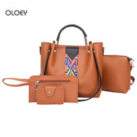 New Metal Handle Wide Ribbon Bucket Bag Fashion Wild Lady Shoulder Messenger Bag High capacity handbag composite bag four sets