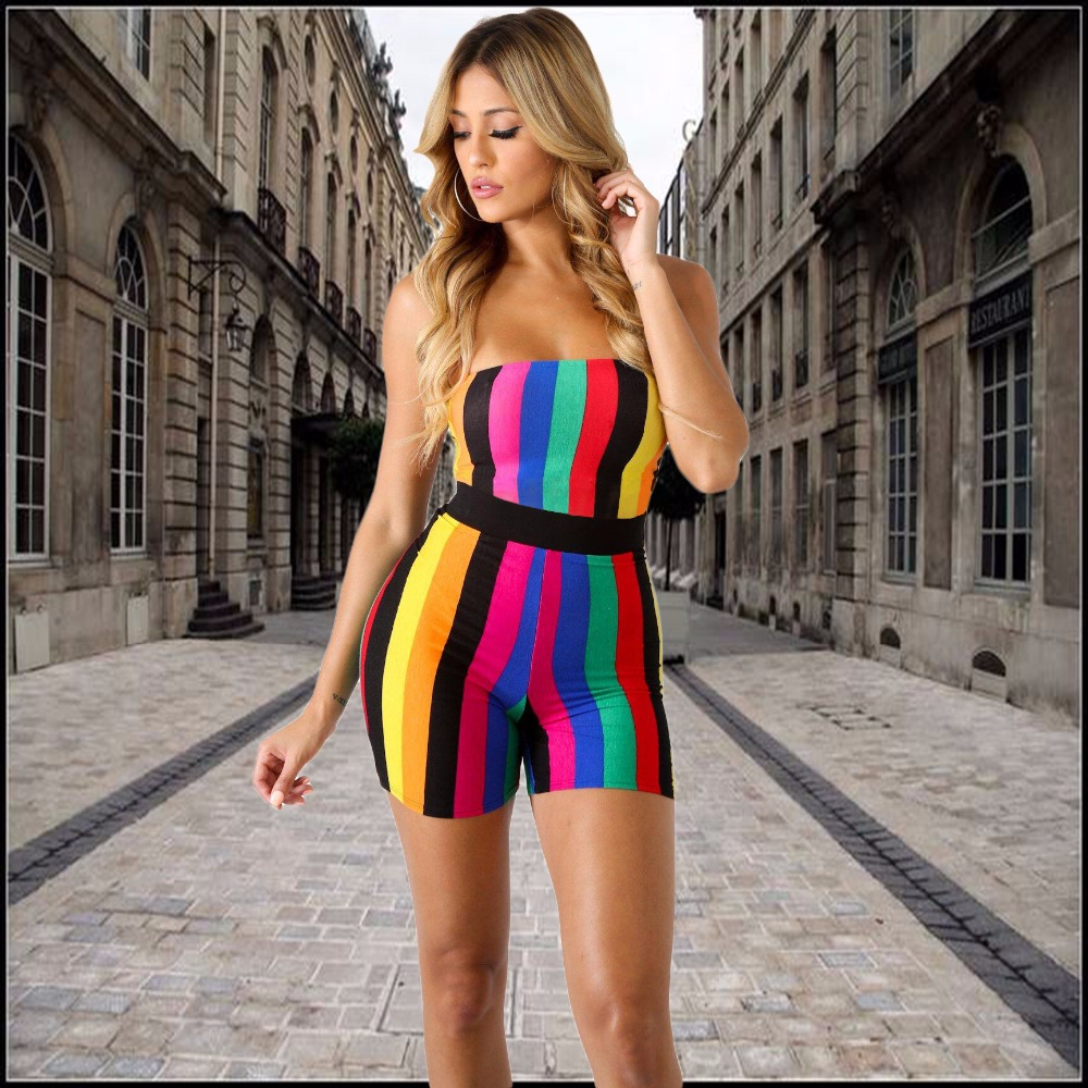 Colorful Striped Playsuit for Ladies Plus Size XXL Sexy Strapless Slim Style Short Romper Night Club Suit Elastic Overalls