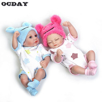 OCDAY Full Body Silicone Reborn Baby Dolls 10 Inch Alive Lifelike Open Eyes Dolls Realistic Cute Reborn Babies Boy Toys Gift