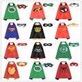 3 Unids/set 70*70 cm Superheto Cosplay Capas (1 capa + 1 máscara) niños Superman Batman Iron Man Flash Spiderman Cosplay Capa