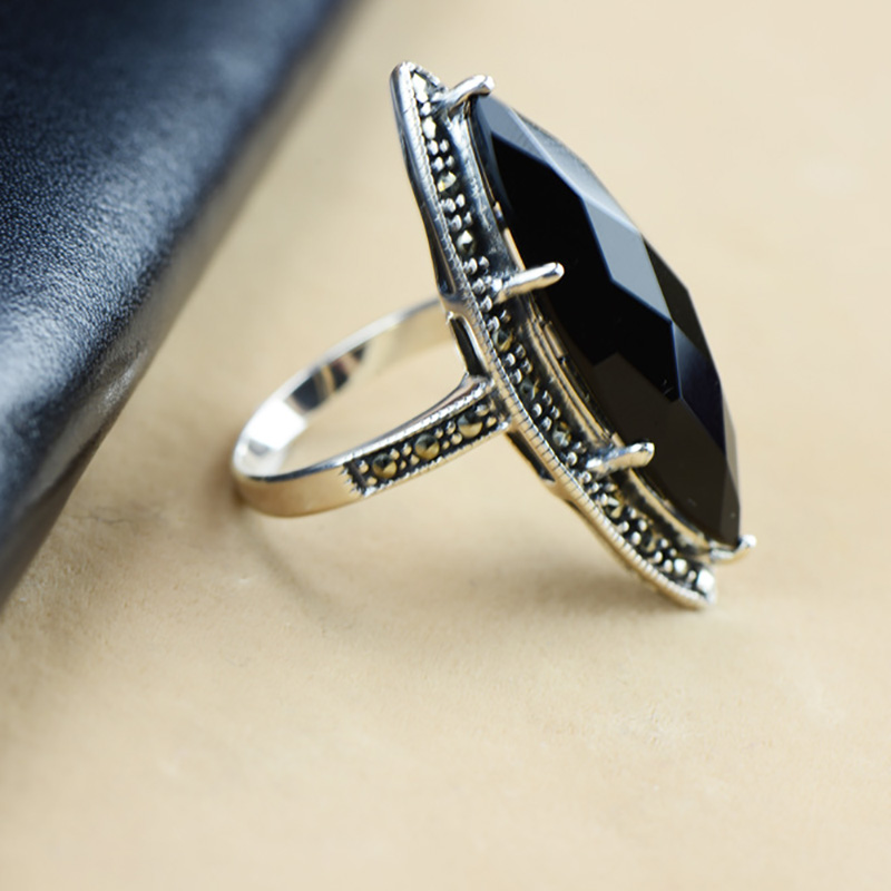 Guaranteed Silver 925 Ring Antique Statement Rings For Women Rhombus Black Agate Natural Stone Fine Jewellery