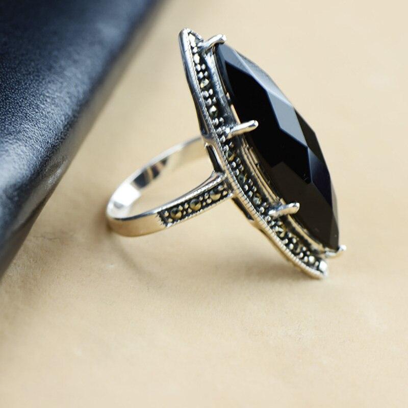 Garanti argent 925 bague Antique bagues pour femmes losange Agate noire pierre naturelle bijoux fins Anillos Mujer