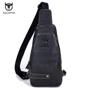 1a8c2e16bda BULL CAPTAIN Mannen Lederen Borst Crossbody Tas Casual Mannen Messenger Bag  Retro Borst Taille Verpakking Rits Sling Bag Reizen tas