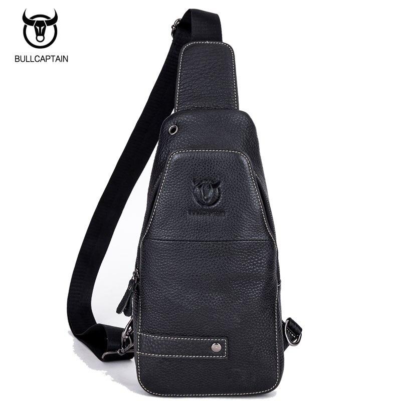 BULL CAPTAIN Men Genuine Leather Chest Crossbody Bag Casual Men Messenger Bag Retro Chest Waist Pack Zipper Sling Bag Travel Bag bull captain 2017 fashion genuine