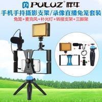 PULUZ 4 in 1 Vlogging Live Broadcast FÜHRTE Selfie Licht Smartphone Video Rig Kits mit Mikrofon + Stativ Halterung + kalten Schuh Tripo-in Live-Stative aus Verbraucherelektronik bei