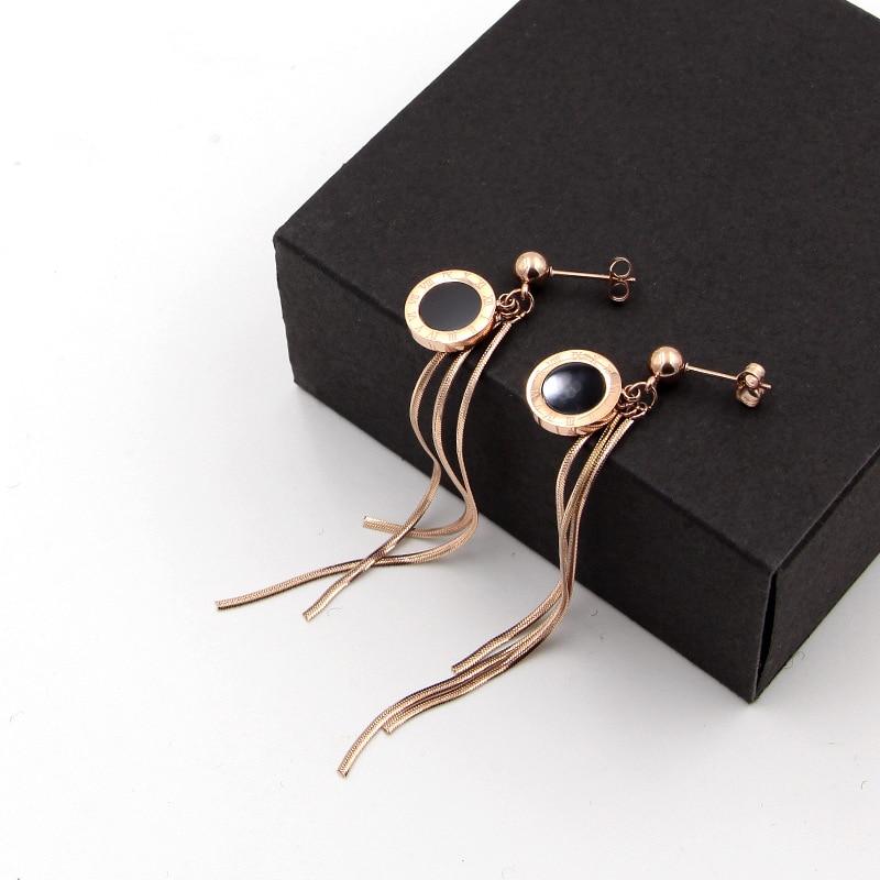 Fashion jewelry steel ball earrings hanging black Roman numeral round cake snake bone chain tassel rose gold women earrings gift