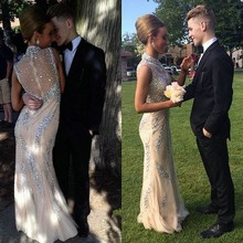 CYF37 Sparkly Bling Crystal High Neck Mermaid Prom Dresses 2016 Latest Vestido de Festa Long Champagne