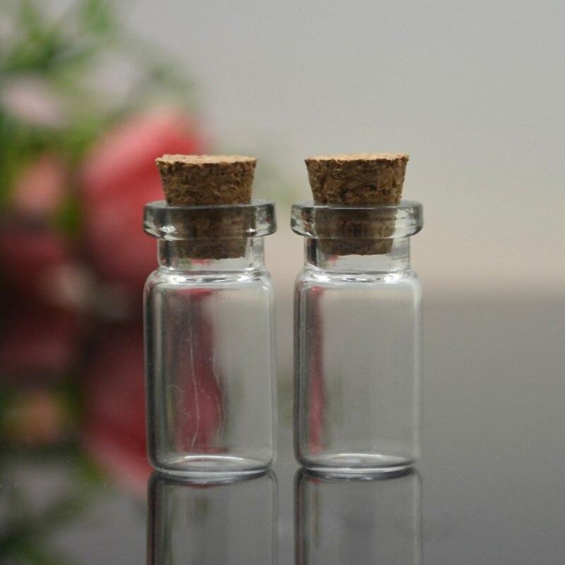 Mini bouteilles en verre avec bouchon en liège transparent 10 pièces, petits flacons, pots, conteneurs 24x12mm, messages, bijoux de mariage