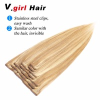 V.girl Hair Clip in Human Hair Extensions Remy Straight Full Head Clip In Extensions 7 piecest 100G 200G Natural Hair 18/613#