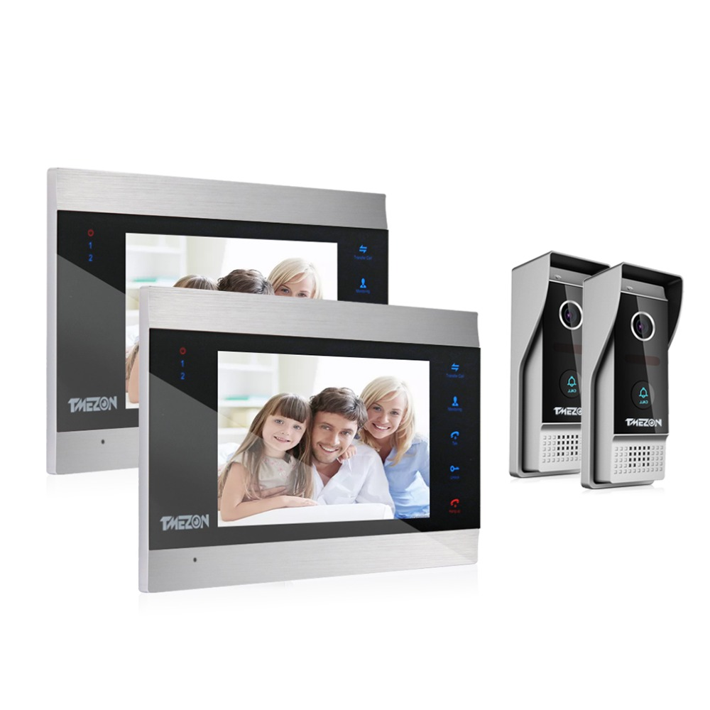 TMEZON 7 Inch TFT Wired Smart Video Door Phone Intercom System With 2 Night Vision Monitor + 2x1200TVL Rainproof Doorbell Camera
