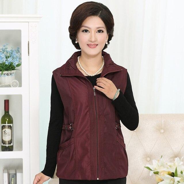 Среднего возраста мода тонкий вскользь женщин жилет жилет жилеты женские с карманный осень зима плюс размер L-4XL бесплатная доставка доставка