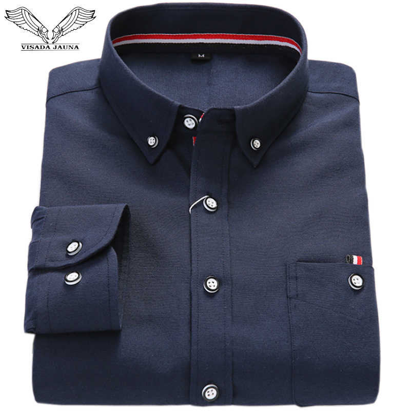 VISADA JAUNA 2017 春の新男性のカジュアルスリムオックスフォード無地底入れシャツ長袖ファッション薄手のコットンシャツ n9015
