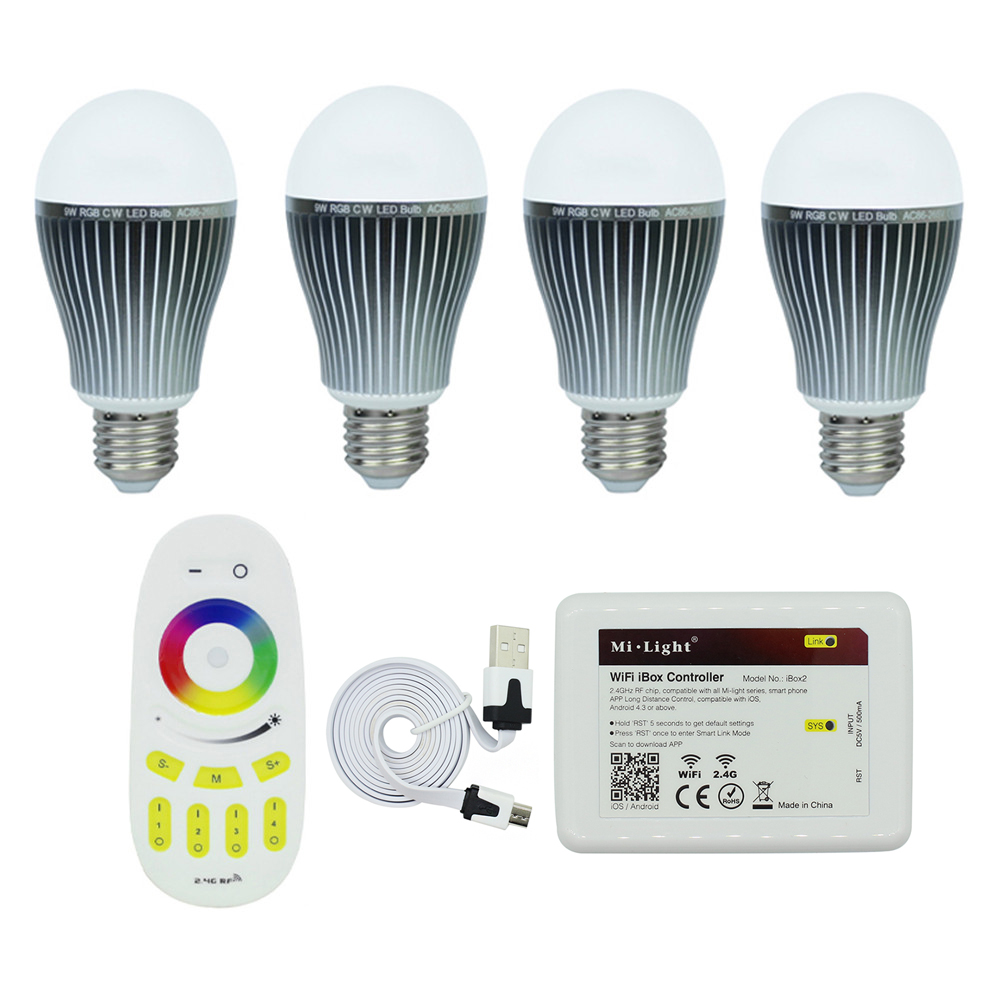 Milight 4pcs 9W E27 LED bulbs & 4 Zone Remote&1 pcs WIFI controller RGBCW or RGBWW AC85-265V led lighting good group diy kit led display include p8 smd3in1 30pcs led modules 1 pcs rgb led controller 4 pcs led power supply
