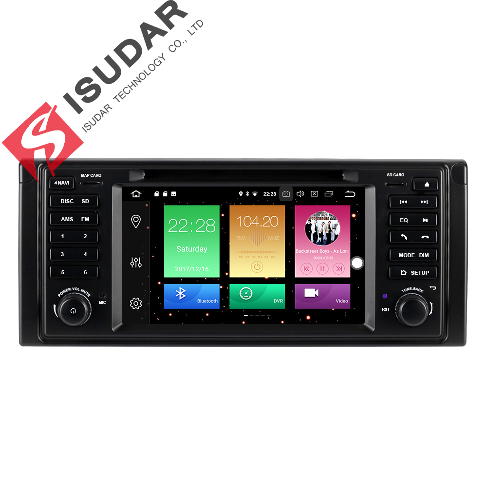 Isudar Voiture Multimédia lecteur GPS Android 8.0 Voiture Radio 1 Din Pour BMW/E53/X5/E39 Canbus arrière Vue Caméra Microphone USB DVR Wifi